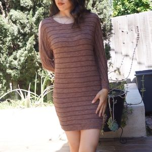 Dresses & Skirts - Brown Striped Long Sleeve Knitted Dress